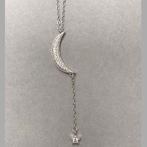 """.925 Sterling Silver/CZ """"Y"""" Moon/Star Necklace,NWT"""